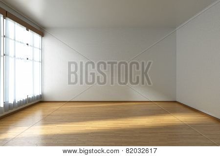 Empty Room With Parquet Floor And Window