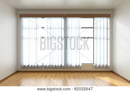 Empty Room With Parquet Floor And Window Front View