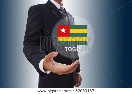 Businessman hand showing Togo Flag
