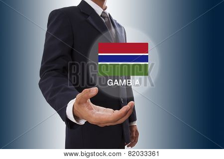 Businessman hand showing Gambia Flag
