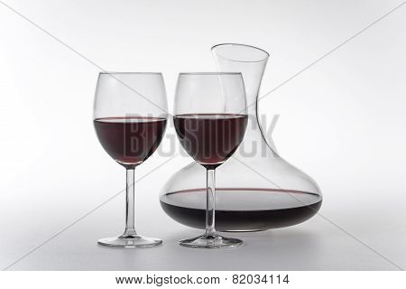 Red Wine In Decanter And Glasses