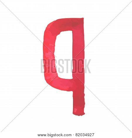 Letter Q Colorful watercolor aquarelle font type handwritten hand draw doodle abc alphabet letters
