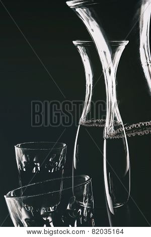 Red Wine In Decanter And Glass