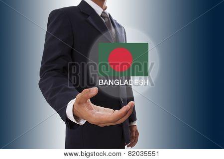 Businessman hand showing Bangladesh Flag
