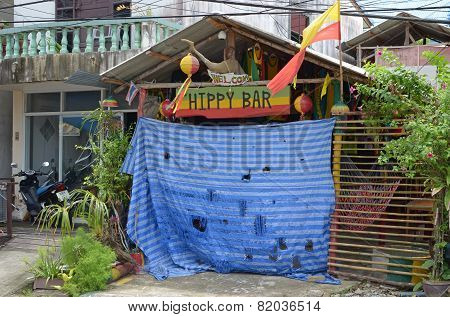 Phuket, Thailand-Sept,26 2014: Closed Hippie Bar on Kata Beach, Phuket