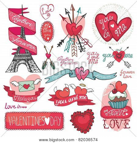 Valentines day set.Labels, emblems ,decorative elements,hearts