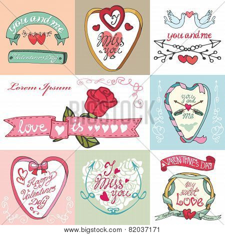 Valentines day cards set. Labels,frames,decorative elements