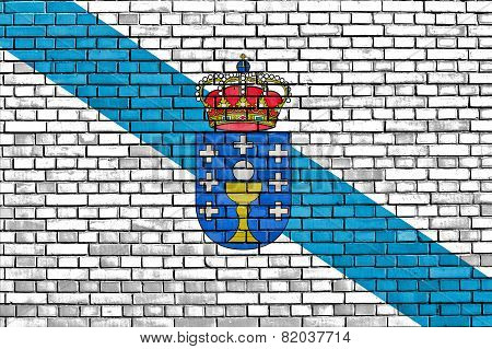 Flag Of Galicia Painted On Brick Wall