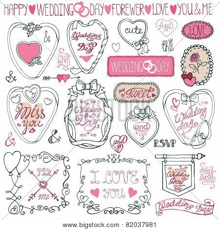 Romantic frame bundle.Hand drawing Valentine,wedding decor