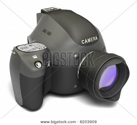 Modern digital full-frame camera with lens