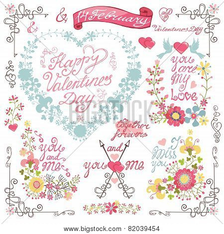 Vintage invitation, greeting card. Floral heart wreath,headline