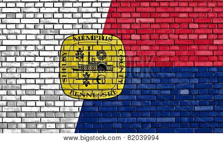Flag Of Memphis Painted On Brick Wall