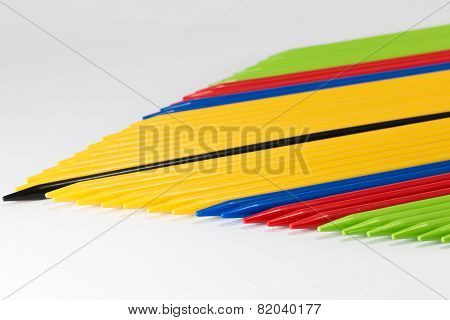 Group Of Colorful Pick-up Sticks Place Side By Side
