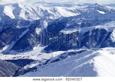 Top View On Snowy Mountains And Off-piste Slope