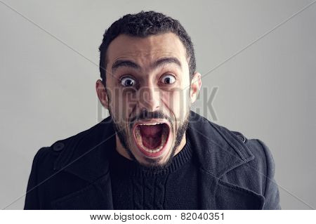 Man with a surprised facial expression Surprise Man Screaming