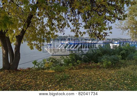 Passenger cruise ship in Ruse port at Danube river