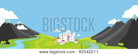 Panorama Vector Illustration Of Mountains And City In Valley