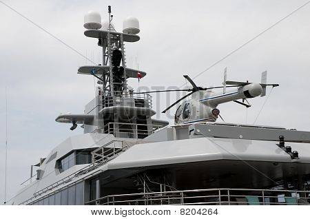 Helicopter on a big yacht