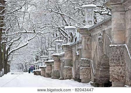 Tsarskoye Selo (Pushkin), Saint-Petersburg, Russia. The Ramp with masks of classical deities