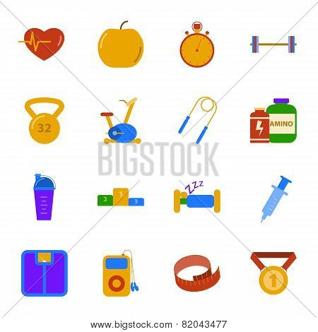 Fitness And Gym Flat Icons Set