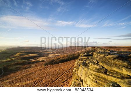 Beautiful Late Evening Autumn Light Over Stanage Edge Peak District