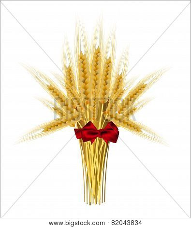 Sheaf Of Wheat Ears With A Bow On A White Background