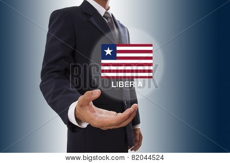 Businessman hand showing Liberia Flag
