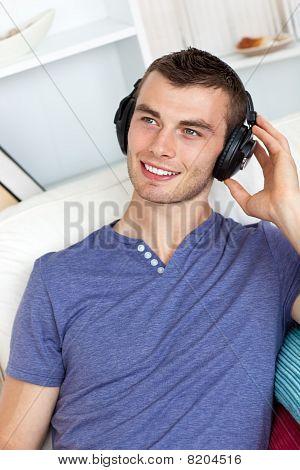 Good-looking Man Listening To Music