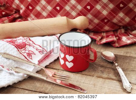 Valentines Concept With Hearts Decorated Mug And Kitchen Utensils