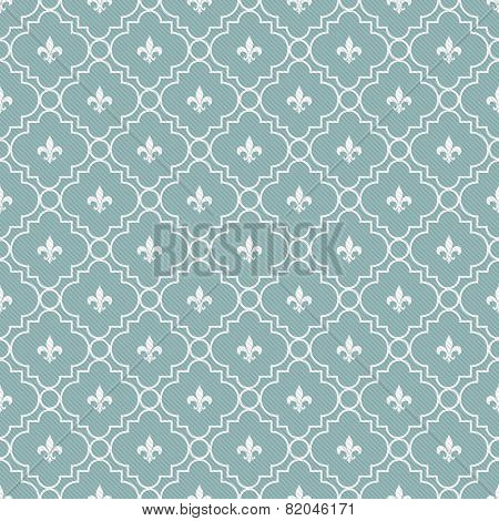 Teal And White Fleur-de-lis Pattern Textured Fabric Background