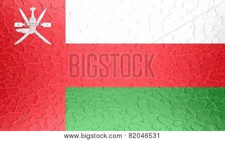 Oman flag on metallic metal texture