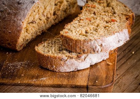 Fresh Rye Bread On A Cutting Board Closeup