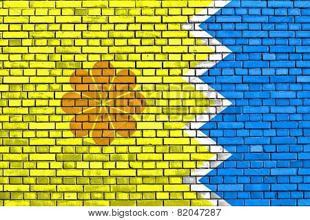 Flag Of Vina Del Mar Painted On Brick Wall
