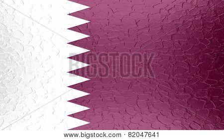 Qatar flag on metallic metal texture