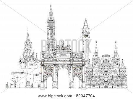 World famous monuments. Paris, London, Moscow