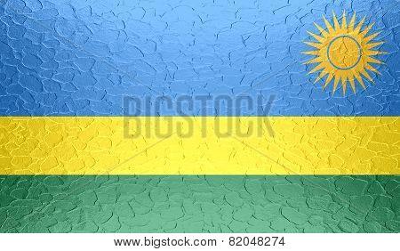 Rwanda flag on metallic metal texture