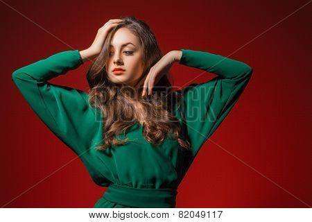 Pretty young girl touching her beautiful hair.