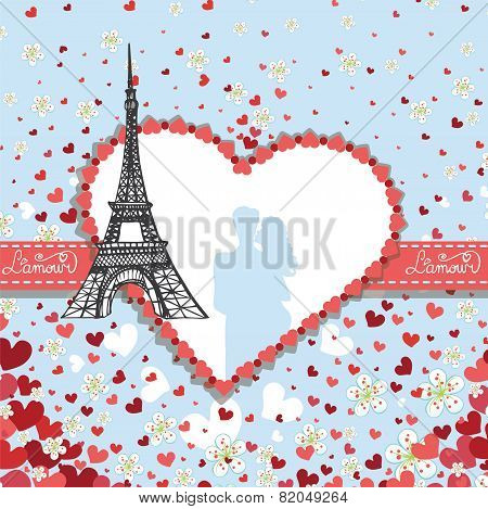 Design Template.Hearts ,flowers,Eiffel tower,Label