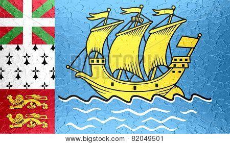 Saint Pierre and Miquelon flag on metallic metal texture