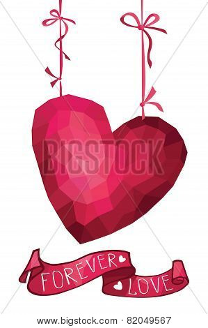 Abstract polygons pink heart with ribbon.Forever love