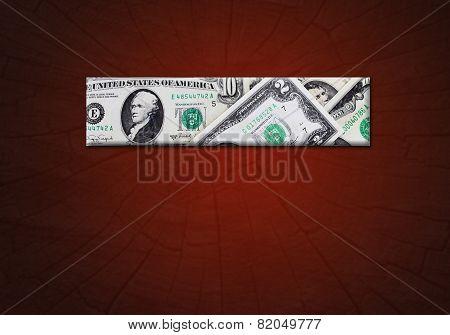 Strip From Dollars On The Gradient Dark Crimson Background