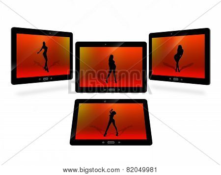 Tablets With Red Image Of Dansing Woman Isolated On White