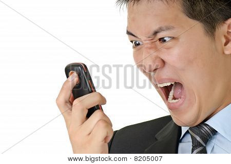 Business Man Yell To Phone