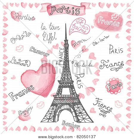 Love in Paris.Watercolor hearts,lettering.Hand drawn painting
