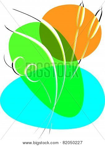 Bulrush. Abstract Vector Illustration On A White Background