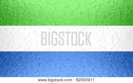 Sierra Leone flag on metallic metal texture