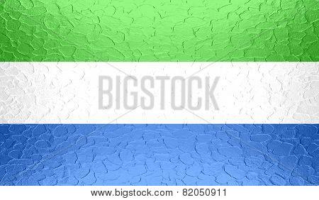 Sierra Leone flag on metallic metal texture