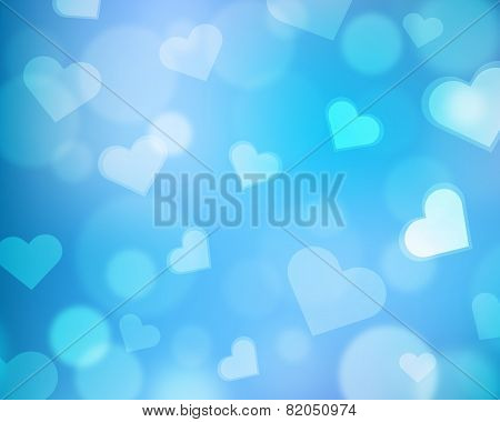 Blur background with love theme - hearts and light orbs - blue