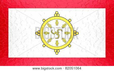 Sikkim flag on metallic metal texture