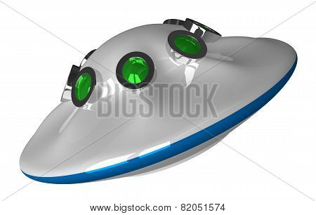 Flying Saucer Isolated On White
